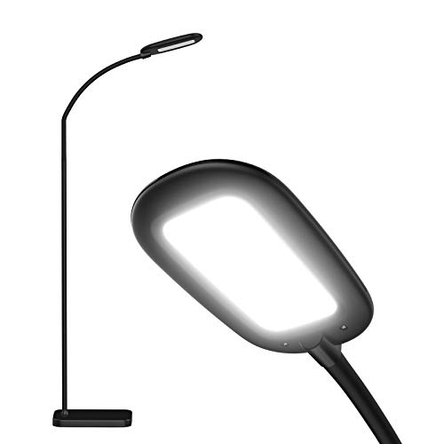 Addlon LED Floor Lamp, 4 Brightness Levels and 3 Color Temperatures with Adjustable Gooseneck, Reading Pole Lamp for Bedroom, Sewing Craft Living Room and Office - Black