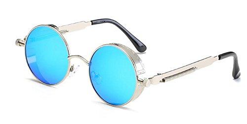 polarisées métallique cercle Bleu de retro rond en lunettes Glacier inspirées du vintage Lennon style soleil 4xqRwPETR