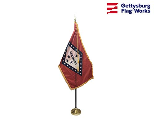 3x5' Arkansas Flag Indoor Flag Set, Includes Indoor Flag, Base, Pole, Spear Finial and Decorative Cord and - Finials Spears
