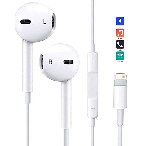 Earbuds/Earphones, Anlyso in Ear Earphones Stereo Headphones with Mic & Volume Control Noise Isolating Headset Fit Compatible with iPhone 7/7Plus/ 8/8 Plus/X/XS/XS Max/XR (White)