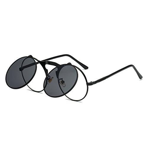 3b70814693 VeBrellen Retro Round Flip-Up Steampunk Sunglasses Clamshell Metal Frame  Sunglasses (Black Frame Grey