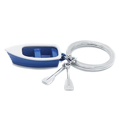 Bote de remos de llavero - Azul y blanco - Con remos de cromo - Barco - Remo: Equipaje