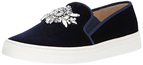 Badgley Mischka Women's Barre Sneaker Navy Velvet 6 Medium US