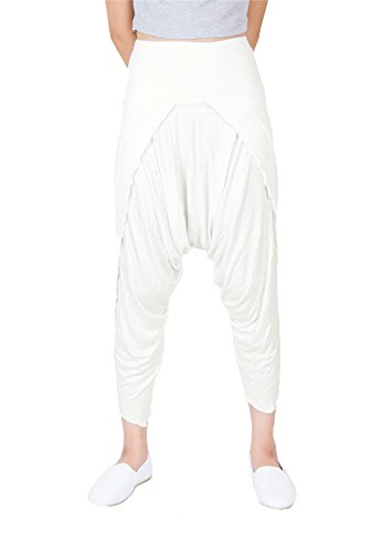 Lofbaz Women's Harem Yoga Palazzo Pants Hybrid Spandex pants Off White Size L