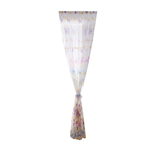 Butterfly Sheer Window Curtain, Single Piece Drape Valance for Wedding Party Home Garden Bedroom Wall Decorations(Blue)