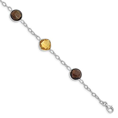 925 Sterling Silver Rhodium-plated Polished Citrine & Smoky Quartz Bracelet 7