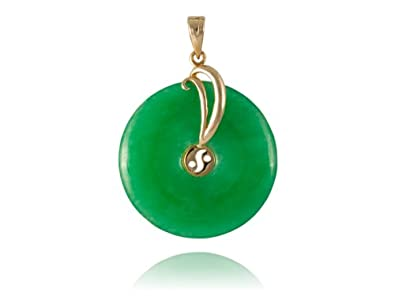 Amazon green jade waft disc pendant 14k gold jewelry green jade waft disc pendant 14k gold aloadofball Image collections