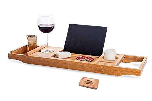Bamboo Wood Bathtub Caddy Tray - Large Bathroom Tub Tray Table with Soap Holder, Phone Holder, Reading/ Tablet Rack, and Wine Glass Holder - Adjustable Bath Tub Organizer Tray with Extending Sides