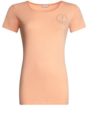 oodji Collection Mujer Camiseta con Decoración de Pedrería Rosa (5400N)