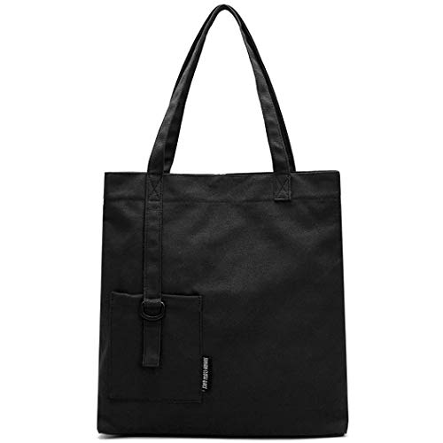Casual Simple Canvas Shoulder Purse Handle Bag Bag Hobo Women's Black Top Fanspack Tote Bag pXWIq