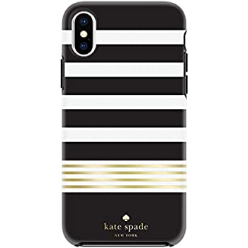 Kate Spade New York Phone Case | for Apple iPhone X and 2018 iPhone Xs | Protective Hardshell Phone Cases with Slim Design, Drop Protection - Stripe 2 Black/White/Gold