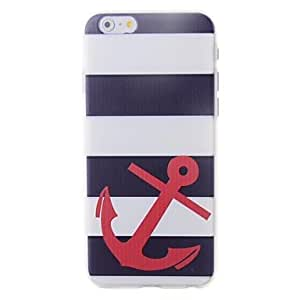 PEACH Strips Ship Anchors Pattern Embossment Back Case for iPhone 6