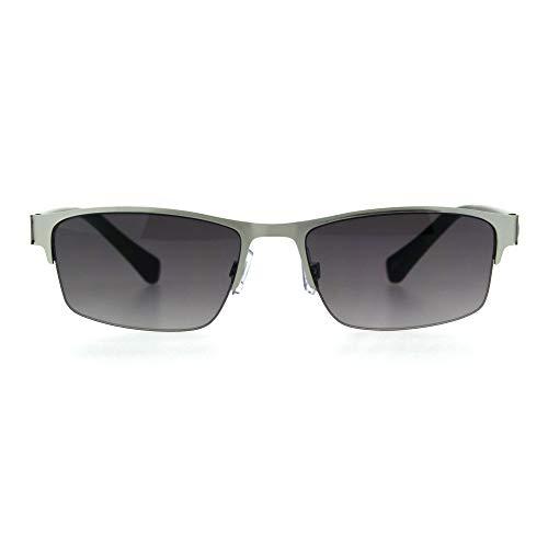 (Mens 3 Focal Multi-focus Metal Half Rim Sunreader Reading Glasses Silver Smoke 2.75)