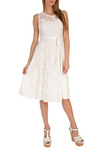 Womens Fashion Sleeveless Lace Fit Flare Sweatheart Bow Dress (Plus Size) USA WHT S