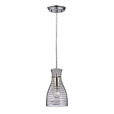 Elk Lighting 46107/1 Strata Collection 1 Light Mini Pendant, Polished Chrome
