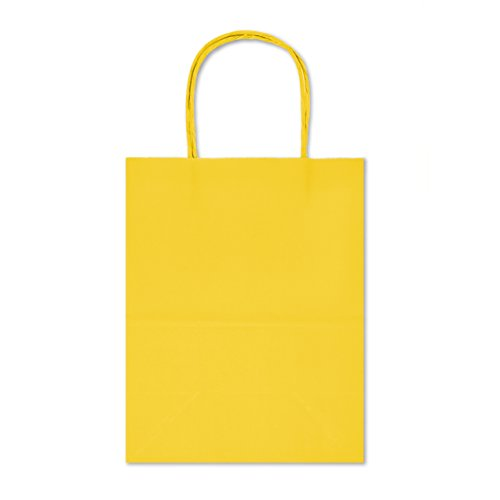 12 Count Eco Friendly, Natural (Biodegradable), Vivid Colored Paper Gift Goody Kraft Bag with Colored Sturdy Handle (Medium, Yellow)