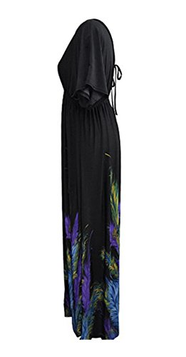 Plume De Paon Bohème Bewish Imprimé Floral Profond Col V Manches Courtes Robe De Plage Maxi Taille Empire Noir