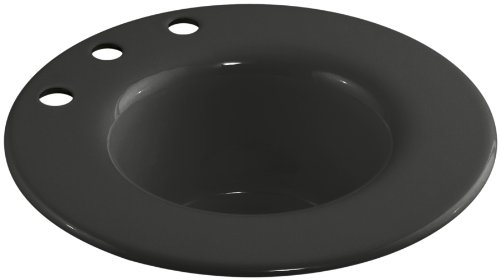 Kohler K-6490-3-FP Cordial Cast Iron Entertainment Sink with Three Faucet Hole Drillings, Caviar