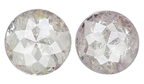 Narshiha Natural Loose Diamond Round Rose Cut Brown Pink I3 Clarity 2 pcs 0.26 Ct N7188 ()