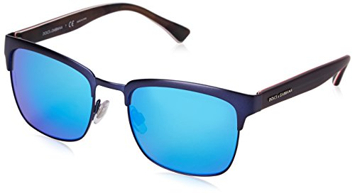 D&G Dolce & Gabbana Mens 0DG2148 Square Sunglasses, Matte Dark Blue, 54 - Dolce And Blue Gabbana Sunglasses