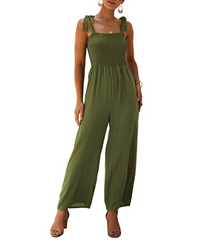 (KIRUNDO Women's 2019 Summer Adjustable Spaghetti Strap Jumpsuits Sleeveless Solid Color Long Wide Leg Overalls (Small, Army Green))