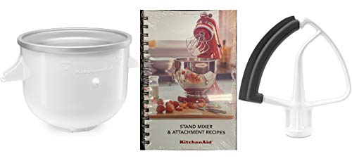 KitchenAid DRTVICE8 2-Quart Ice Cream Maker & Flex Edge Beater With Recipes Book Package Stand Mixer Attachments