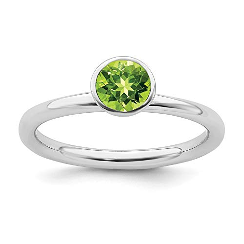 (925 Sterling Silver High 5mm August Swarovski Band Ring Size 7.00 Stackable Birthstone Gemstone Peridot Fine Jewelry Gifts For Women For Her)