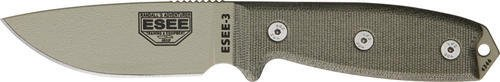 ESEE Knives 3PKODT Model 3 Standard Edge Fixed Blade Knife with OD Green Canvas Micarta (Fixed Blade Green Micarta Handle)