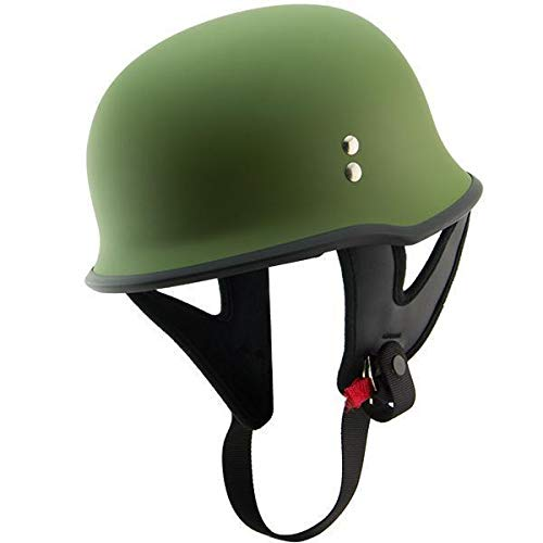Outlaw T-75 'Military' German Style Flat Green Half Helmet - Small