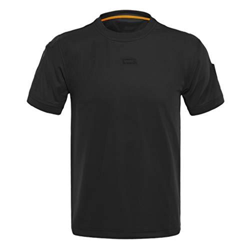 KINGOL Men Loose Tactical Elastic Short Sleeve Training Quick Dry T-Shirts Tops Blouses Black