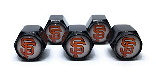 Buycleverly San Francisco Giants Logo Metal Tire Valve Stem Caps Set/5 Pcs for Vehicles Cars Sedan Compact Luxury Wheels SUV's Pickup's Truck's Motorcycles