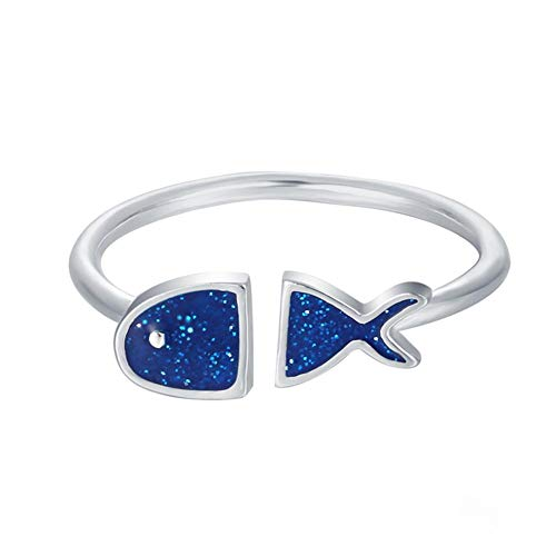 (Xuxuou Rings for Women Girls Blue Fish Rings Adjustable Stainless Steel)