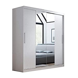 CHECO HOME AND GARDEN 2 DAY DELIVERY AVAILABLE SLIDING 2 DOORS WARDROBE 6 ft 8 inch (204cm) 'MIRROR I – WHITE'