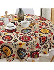 "Lahome Bohemian Sunflower Tablecloth- Cotton Linen Table Cover Kitchen Dining Room Restaurant Party Decoration (Round - 60"", Sunflower)"