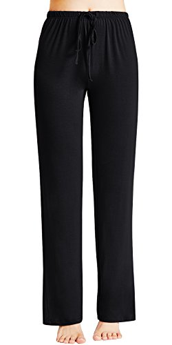 GYS Women's Bamboo Sleep Pants, Medium, Black