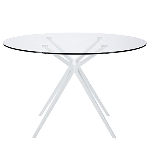 Round Tilt Top Accent Table - Modway Tilt Contemporary Modern Glass Top Round Dining Table in White