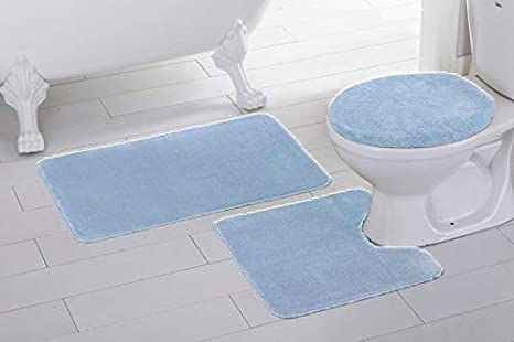 3Pcs Non-Slip Bathroom Rug Toilet Seat Lid Cover Set Ivory and Blue Soft Skidproof Bath Mat Romantic Roses with Retro Stripped Background Vertical Illustration,Ivory Blue Green Absorbent Doormat Bedro