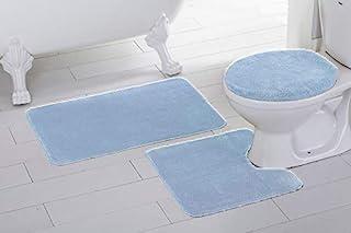 Fancy Linen 3pc Non-Slip Bath Mat Set Solid Black Bathroom U-Shaped Contour Rug, Mat and Toilet Lid Cover New