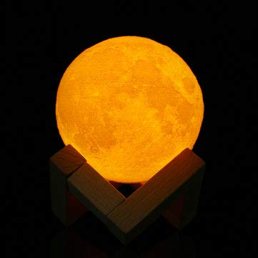 8cm Touch Sensor 3D Moon Table Lamp USB Color Changing LED Night Kids Gift - LED Night Lights LED Mood Lights - 1 x Moon Light 1 x USB charging cable,1 x Solid wood scaffold ()