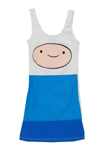 Adventure Time Beemo Costume (Adventure Time Finn Big Face Tunic Tank Dress (Small, Blue))
