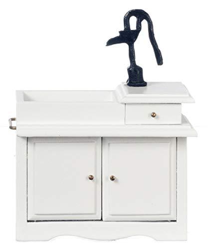 Melody Jane Dollhouse White Victorian Sink Unit with Hand Pump Miniature Kitchen Furniture
