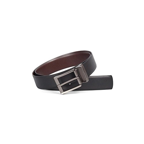 Kenneth Cole REACTION Men's Reversible Feather-edge Belt,Black/Brown,36 (Belt Satin Reversible)