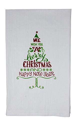 We Wish You a Merry Christmas and a Happy New Year Funny Dishcloth Tea Towel Screen Printed Flour Sack Cotton Kitchen Table Linens