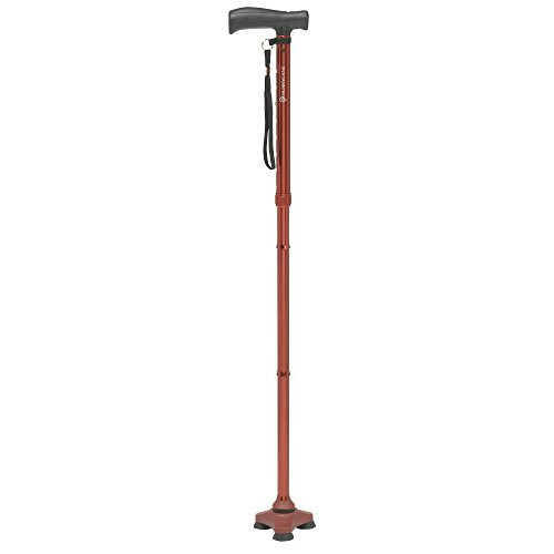 Red Walking Stick - HurryCane Freedom Edition Folding Cane with T Handle, Roadrunner Red