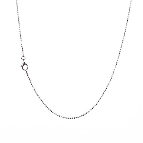 925 Sterling Silver 1.00 mm Diamond-Cut Bead Chain Necklace With Pear Shape Clasp-RHODIUM FINISH (Rhodium Chain Ball)