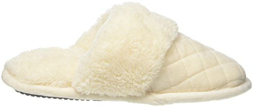Dearfoams Women's Quilted Velour Scuff with Memory Foam Open Back Slippers Off White (Alabaster 00284) Ixjh2