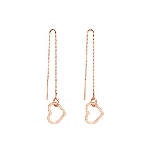 MANZHEN Cute Open Heart Earrings Love Heart Threader Drop Earrings Long Chain Jewelry (rose - Heart Cute Open