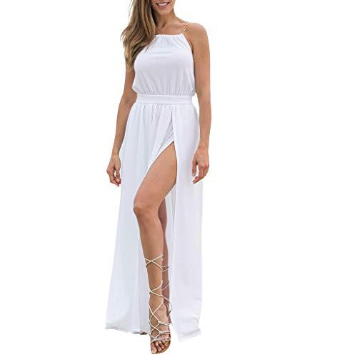 - Women's Boho Long Dresses-White Chiffon Sleeveless High Slit Casual Party Dresses