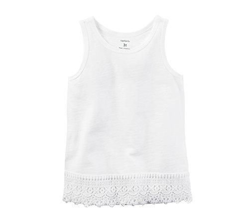 Carter's Girls' 2T-8 Lace Trim Tank Top White 7
