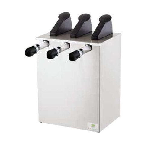 Server Products SLE-3-07530 Slim Express Pouched Condiment Station, (3) 07794 Pumps and Slim Base, (3) 96 oz, 16 mm Capacity, Black/Stainless Steel (Express Server Pump)